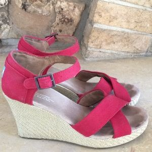 Tom's Red Wedge Sandals